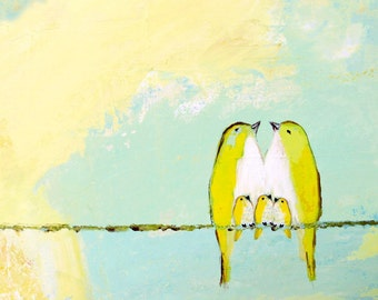 Blessed Beneath the Lemon Meringue Sky ~ Five yellow birds on a wire art print blue green colors