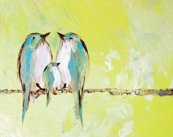 Our Lemon Chiffon Sky (bird on a wire, bird family, baby bird, nursery art, nursery decor)
