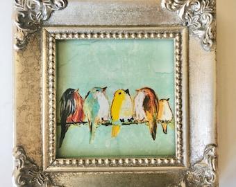 Mini framed print of birds on a wire music teacher gift