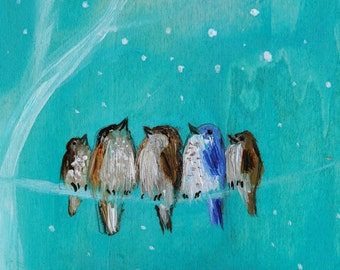 Joy to the World ~ Five sparrow birds on a wire art print turquoise colors