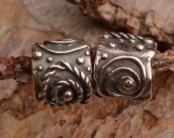 Rustic Spiral Dotted Sterling Silver Slider Bead, BE-593 (ONE)