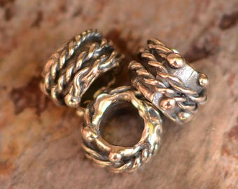 Slider Bead Adorned with Rope and Dots, Sterling Silver, SL-553 (ONE)