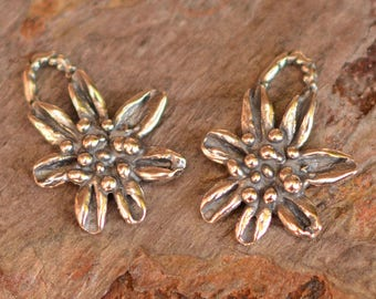 Two Rustic Flower Charms in Sterling Silver, CH-548