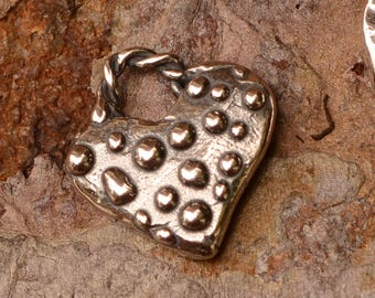 Small Dotted All Over Heart Charm, One Sterling Silver Charm, CH-681, S/1