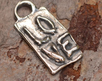 Love on a Rectangle Charm in Sterling Silver, CH-11