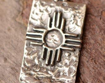 Zia Symbol // Zia Sun Charm // Sterling Silver Zia Cross // CH-718