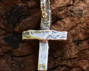 Sterling Silver Cross Charm // Artisan Small Rustic Cross // R-345