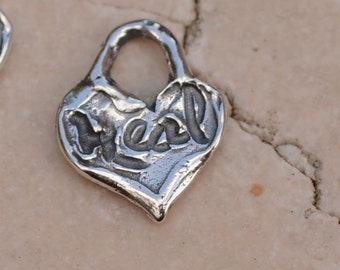 Tiny Heart inscribed Heal in Sterling Silver, H-361