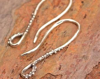 Artisan Sterling Silver Earring Hooks // French Style Earring Findings // E-744