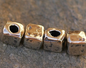 TWO Big Hole Square Sterling Silver Beads -178s
