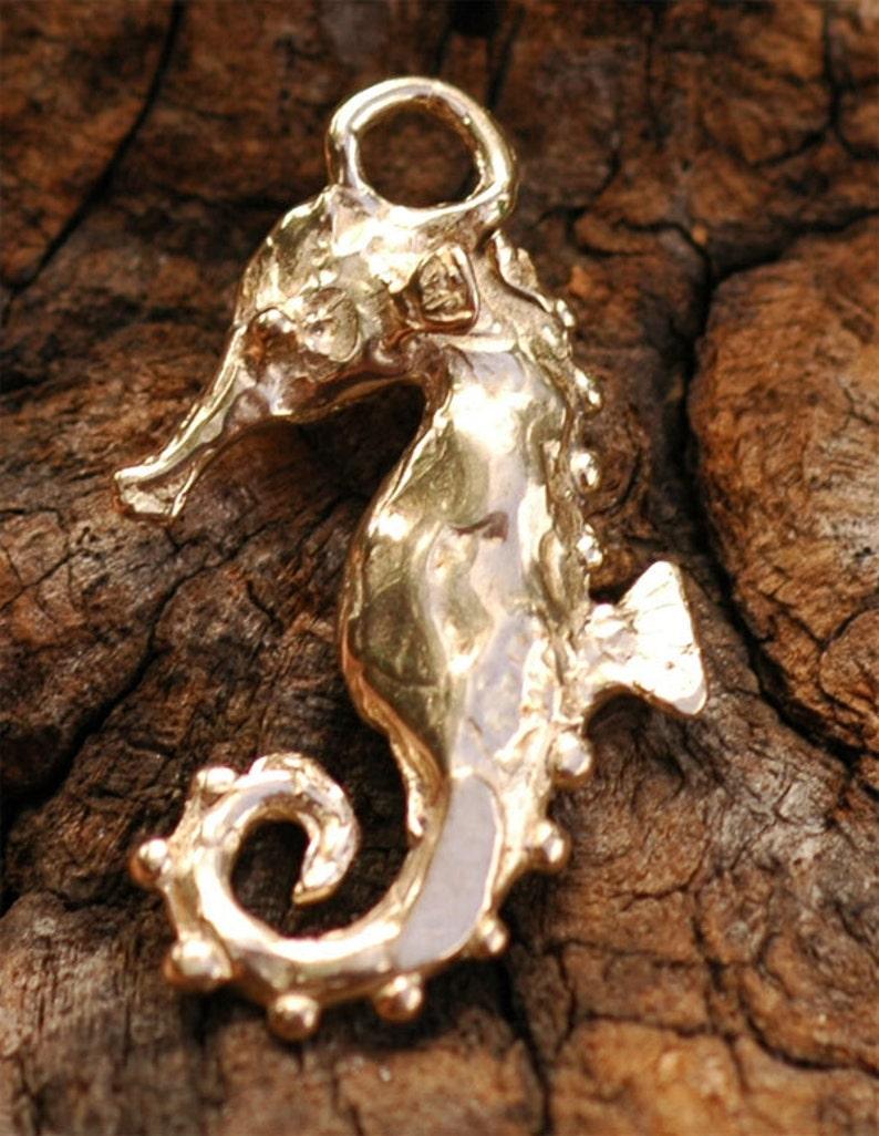 Seahorse Charm in Gold Bronze, Artisan Seahorse photo