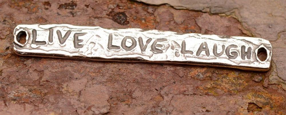 Live Love rire focale Bracelet lien focale rire connecteur en argent massif, L-417 ff055e