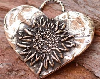 Sunflower Heart in Sterling Silver, SS-851