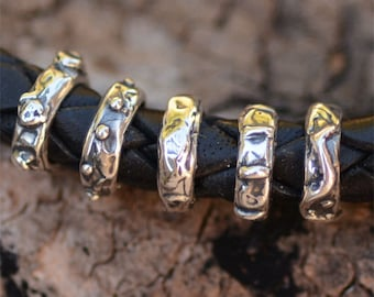 Sterling Silver Skinny Slider Beads, (Set of 5)
