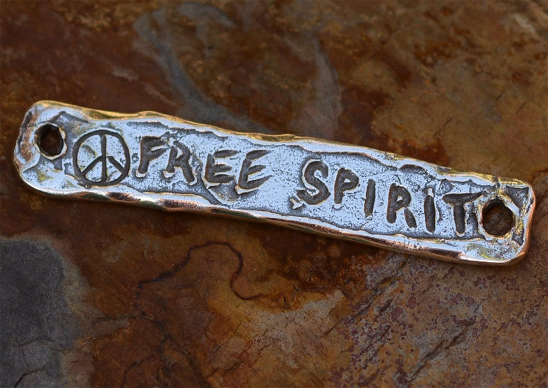 Free Spirit with Peace Bracelet Link in Sterling Silver, 419 photo