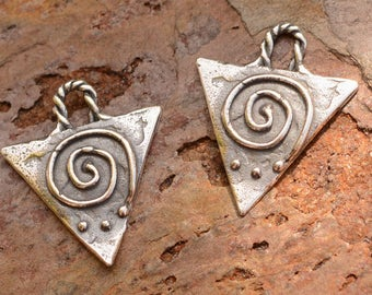 Two Upside Down Triangle with Spiral Charms in Sterling Silver, CH-657, S/2