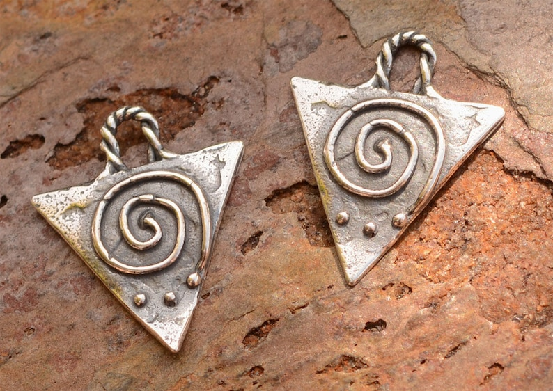 Upside Down Triangle with Spiral Charms in Sterling Silver, CH-657 (Set of 2) photo