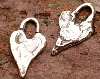 Tiny Hearts in Sterling Silver, Two Long Heart Charms, H-421