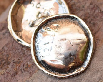 Large Rustic Plain Rimmed Button in Sterling Silver