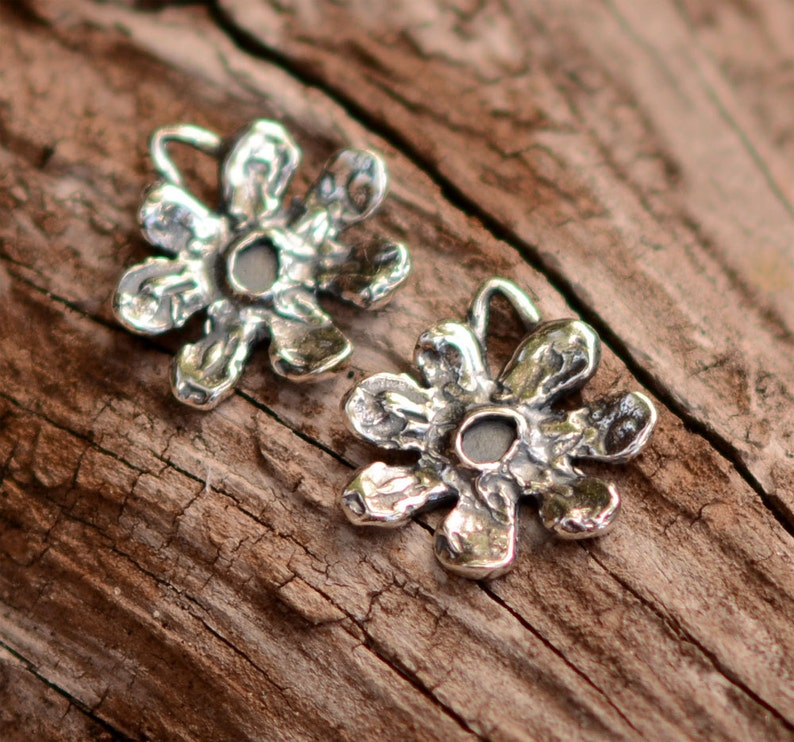 2 Sterling Silver 14mm Flower Charms *