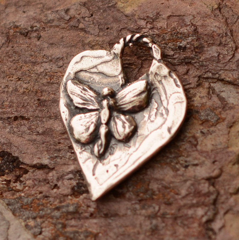 Butterfly Heart Charm Sterling Silver H-687