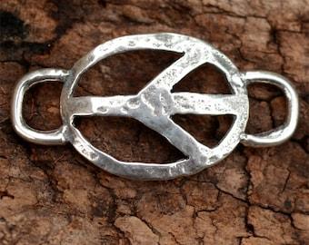 Hammered Peace Bracelet Link in Sterling Silver