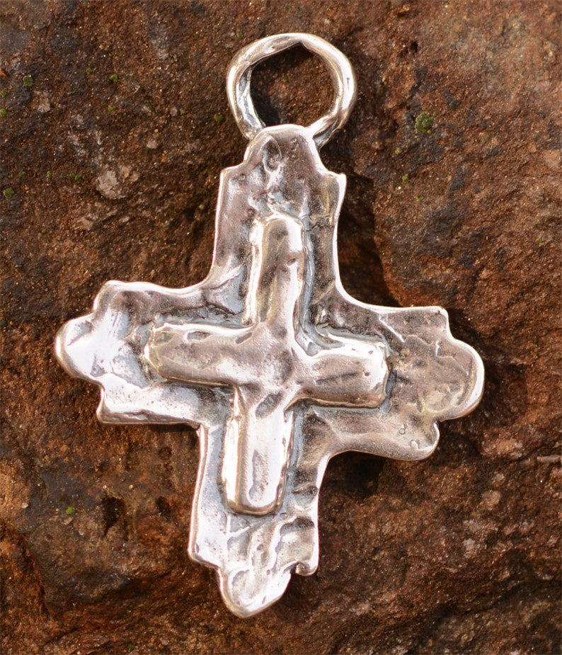 Southwest Cowgirl Cross Sterling Silver Pendant, PX454 photo