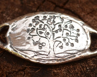 Tree of Life Bracelet Link in Sterling Silver, Curved, LL-33