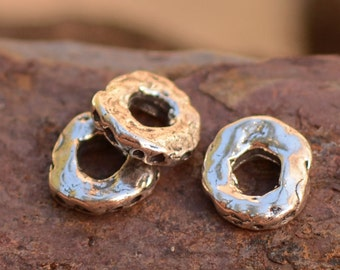 8mm Dimpled Spacer Beads in Sterling Silver SL85 (Set of 2)
