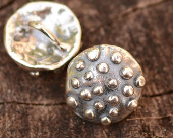Button Clasp for Wrap Bracelets in Sterling Silver adorned with Dots