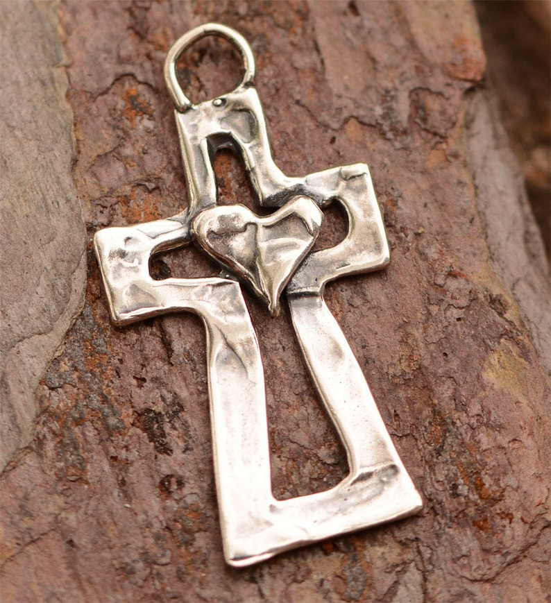 Sterling Silver Cross Pendant, Heart on a Cross Pendant, PX-144 photo
