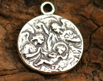 Holy Birth with Angels in Sterling Silver, R-65