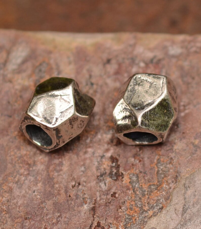 ONE Faceted Slide Bead in Sterling Silver with Large Hole
