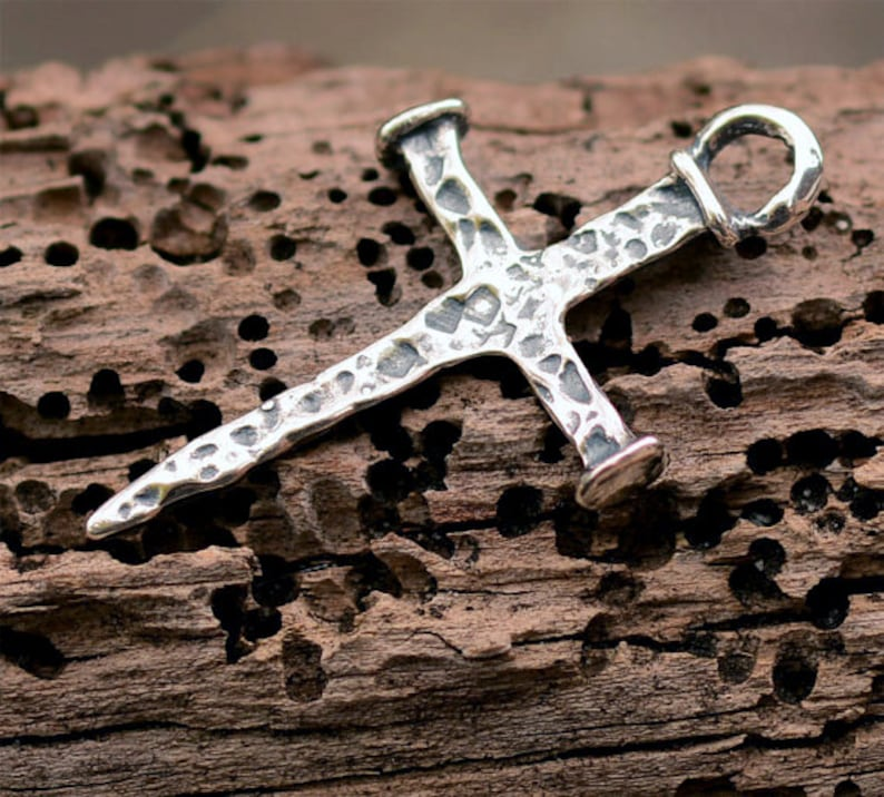 Rustic Nail Cross in Sterling Silver, R-359 photo