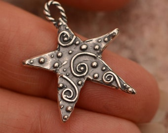 Silver Star Charm, Artisan Sterling Silver Star with Spirals, CH-798 (ONE)