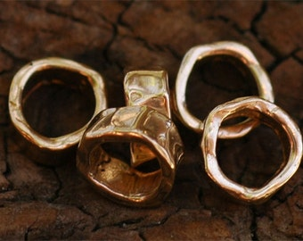 Two Artisan 8mm Spacer Beads in Gold Bronze