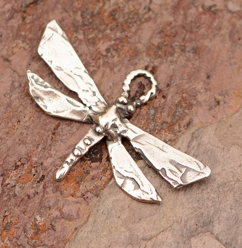 Artisan Sterling Silver Dragonfly Charm // CH-721 photo
