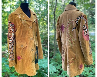 Tiger Sun - hand painted leather jacket - Ladies Size Large
