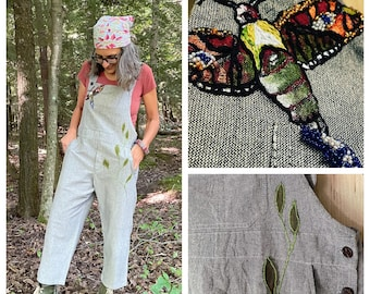 M/L - Jeweled Transformation - Hand painted, embroidered and beaded moth bib romper, One of a Kind Wearable Art Overalls