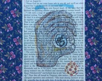 SALE! Art and Faith - Stitched book page - Vintage book page, ptint,  original art, vintage fabric, collage, fiber art, book art, OOAK art