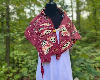 """Ancestry Cloth Capelet - """"Directions""""  Wearable Art, one of a kind shawl"""