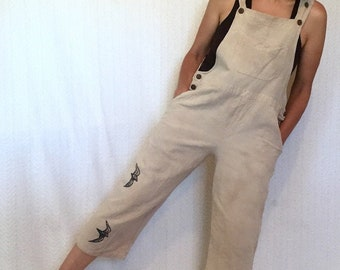 Artist Overalls - Hand printed Bird Bibs - Fair Trade Collaborated Clothing by Brilliant Stranger