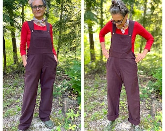 Brown Overalls with full length pants, medium-light woven cotton, textured and rich, available in XS to 3X