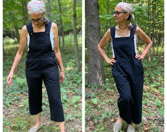 Black Bib Overalls in a lightweight woven cotton, Cropped Leg Romper, 5 sizes