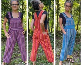 Colorful Bib Overalls in Embroidered Stripes, cropped bib romper, women's overalls, men and teens, Sizes XS-3X