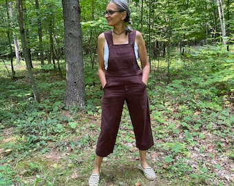 S/M and 3X/4X Warm Brown Bib Overall Romper - cropped leg bibs in a medium weight woven cotton