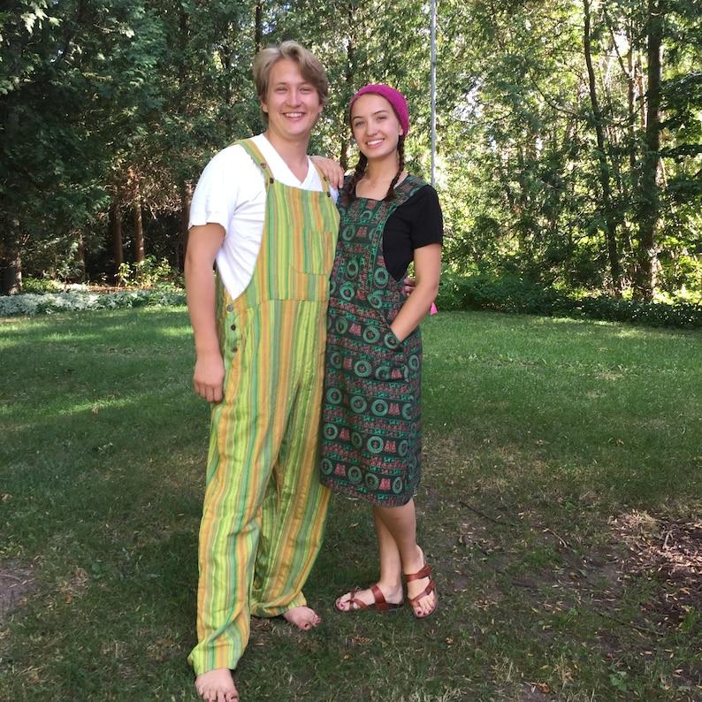 Bib Jumper with Om Print Cotton Bib Overall skirt for Yogis! Green Om-erall Dress