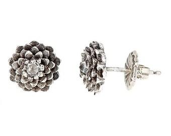 5eeaf13f74 Antiqued Black Dahlia Sterling Silver White VVS Sapphire Stud Earrings Hand  Carved