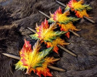 Maple leaf hair barrette/handmade, original, leather,hair barrette,hair accessorie,hair toy,maple leaf, cosplay, hair adornment,leaf,nature