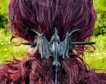 Soaring Dragon leather hair  barrette/hair barrette/Dragon/cosplay/larp/hair bling/fantasy/mythical/hair accessory/steam punk/Faerie/gothic
